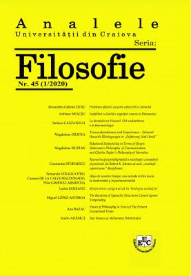 Analele Universităţii din Craiova. Seria Filosofie 45 (1/2020)